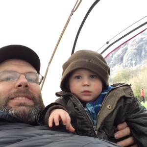 Dad and baby camping