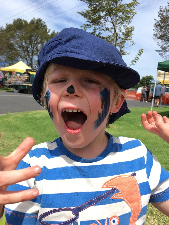 children's face painting at a festival, Sandy Bennett-Haber