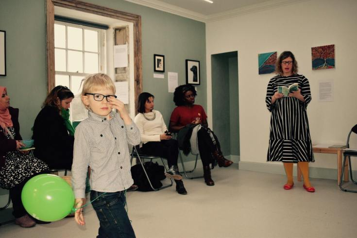 mother and son at literary event photo credit Andrea Balzarini