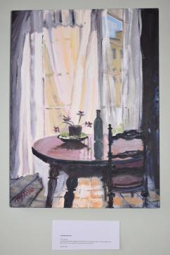 'Its Curtains' Elizabeth McArdie A piece painted when diagnosed with terminaloesophagas cancer 14 years before she dies, which she survived as she still had too much to do.