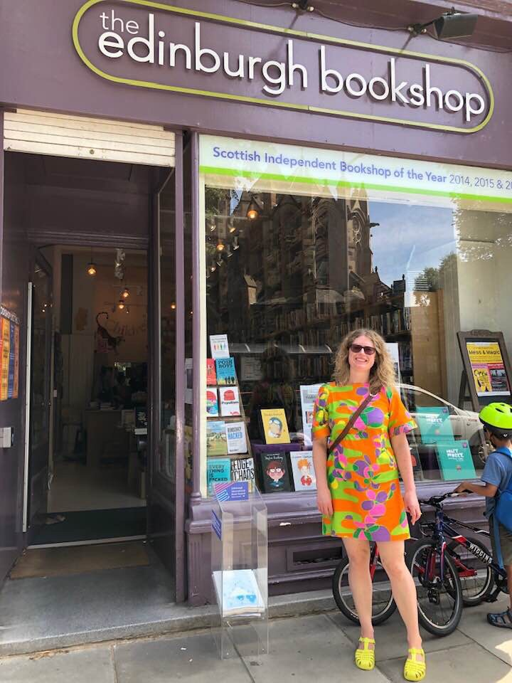 Author Sandy Bennett-Haber outside of The Edinburgh Bookshop